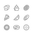 set line icons of bakery vector image