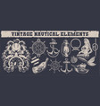 set of a vintage nautical elements vector image vector image