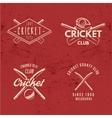 set retro cricket club emblems design cricket vector image vector image