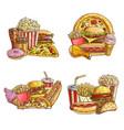 takeaway fast food sketch set vector image vector image
