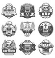 vintage monochrome rap music labels set vector image