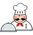 Winked Chef Logo With Platter vector image vector image