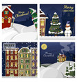 winter landscape with christmas houses firtree vector image vector image