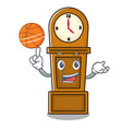 with basketball grandfather clock character vector image
