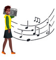 Woman with tape recorder walks along music notes