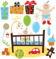 baby boy retro birthday party vector image