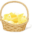 basket fool of cheese isolated on white background vector image vector image