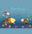 beer party invitation with fishes abstract vector image vector image