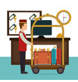 bellboy working in the hotel character vector image