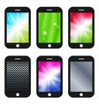 black mobile phone with different wallpapers vector image vector image