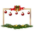 border template with red balls and pine leaves vector image vector image
