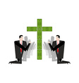 Businessman praying for money Adoration of dollars vector image vector image