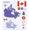 Canada map icons and buttons set vector image