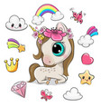 cartoon unicorn girl and set cute design vector image vector image