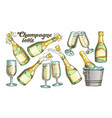 champagne bottle and glass color set vector image vector image
