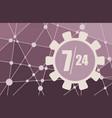 clock in gear and symbols 7 24 vector image