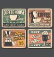 coffee retro poster espresso cappuccino cup vector image vector image