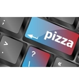 Computer keyboard with blue pizza word on enter vector image