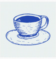 cup of tea blue hand drawn doodle on lined paper vector image