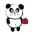 cute black and white panda holding a red gift on vector image