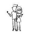 figure couple together with clouthes design vector image