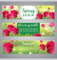 floral banners greeting invitation with roses vector image vector image