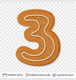 gingerbread number three symbol with drop shadow vector image