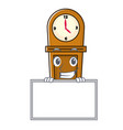 grinning with board grandfather clock character vector image vector image