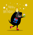 happy dog on rollers greeting card vector image vector image