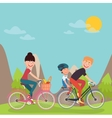 Happy Family Riding Bikes in tho Mountains vector image vector image