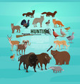 hunting prey and gun poster with animals and rifle vector image vector image