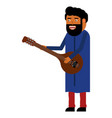 indian man playing a musical instrument vector image vector image