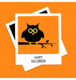 Instant photo with owl Happy Halloween card Flat vector image