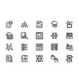 line icons pack of data management vector image vector image