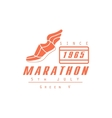 Marathon Running Orange Label Design vector image vector image