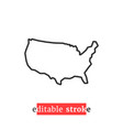 minimal editable stroke usa map icon vector image