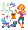 mother holding newborn child and baby accessories vector image vector image