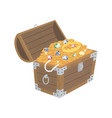 opened wooden chest with treasures vector image vector image