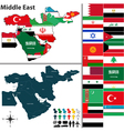 Political map of Middle East with flags vector image vector image