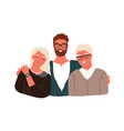 portrait happy family hugging each other vector image vector image