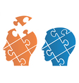 puzzle heads symbolizing psychology vector image vector image