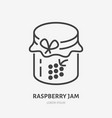 raspberry jam flat line icon thin sign of vector image vector image
