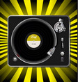 record player retro design on yellow and black vector image