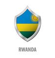 rwanda flag on metal shiny shield vector image