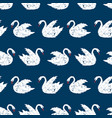 seamless background of white swimming swans vector image vector image
