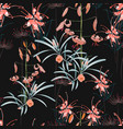 seamless pattern orange lily flowers vector image vector image