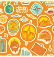 seamless pattern with travel stickers or magnets vector image vector image