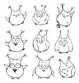 set of cute cartoon owls with various emotions vector image vector image