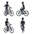set of people riding on bike monochrome silhouette vector image vector image