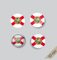 set round buttons with image florida vector image vector image